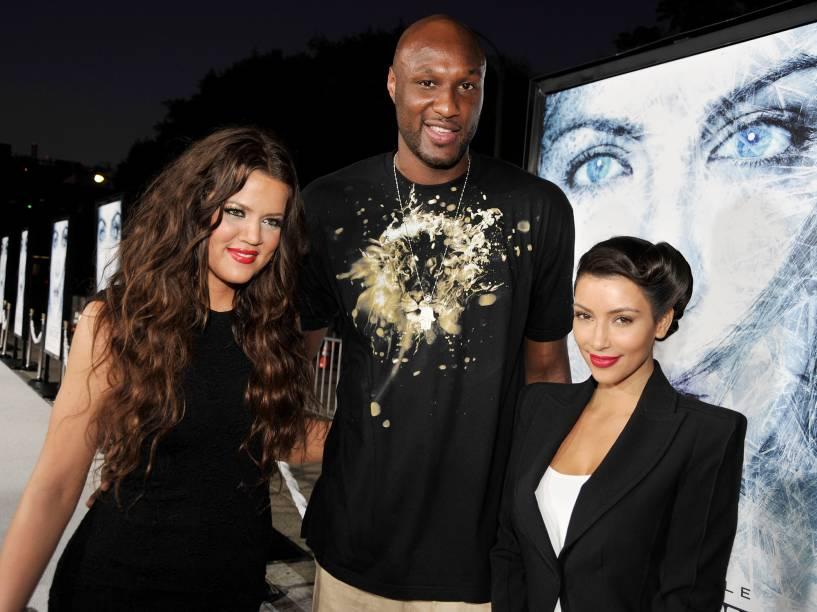 Khloé Kardashian, Lamar Odom e Kim em setembro de 2009