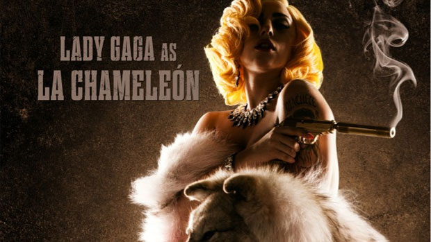 Lady Gaga posa para pôster do filme <em>Machete Kills</em>, de Robert Rodriguez