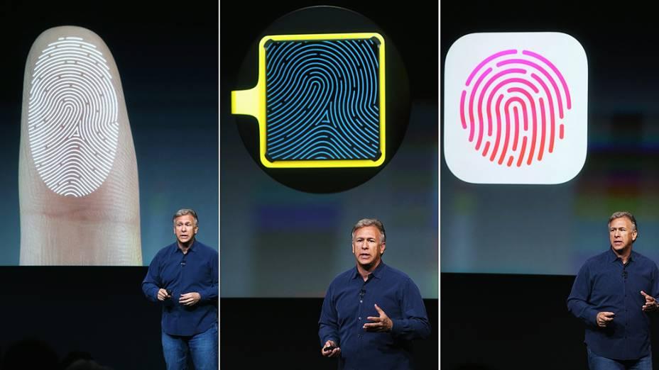 Apple apresenta novo sistema de segurança para oiPhone 5S com sensor de impressões digitais, lançado durante evento da Apple em Cupertino, Califórnia