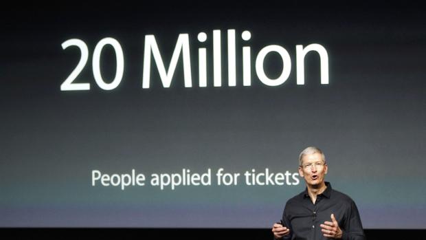 Tim Cook durante apresentação da Apple em Cupertino, nos Estados Unidos