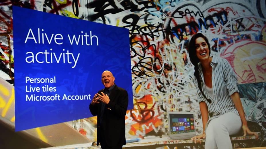 CEO da Microsoft, Steve Ballmer durante o lançamento do sistema operacional Windows 8, em Nova York