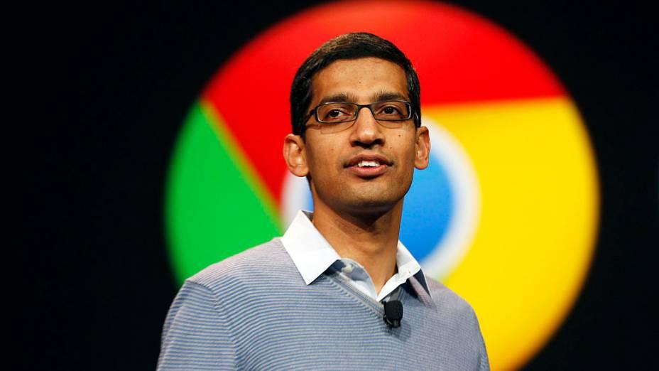 Sundar Pichai, vice-presidente sênior do Google Chrome, fala durante conferência Google I / O no Moscone Center em San Francisco, Califórnia