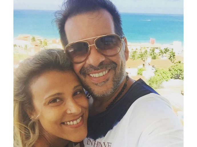 O humorista Leandro Hassum e sua mulher, Karina