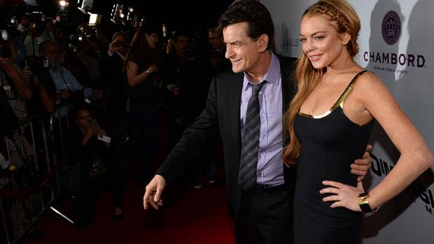 Lindsay Lohan e Charlie Sheen na première de <em>Todo Mundo em Pânico 5</em>