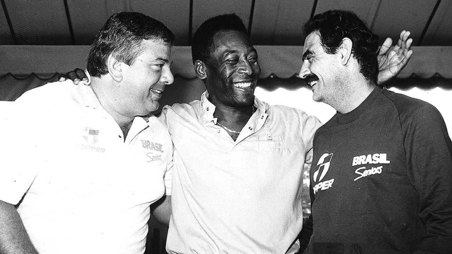 Rivellino com o narrador Luciano do Valle e Pelé, em 1989