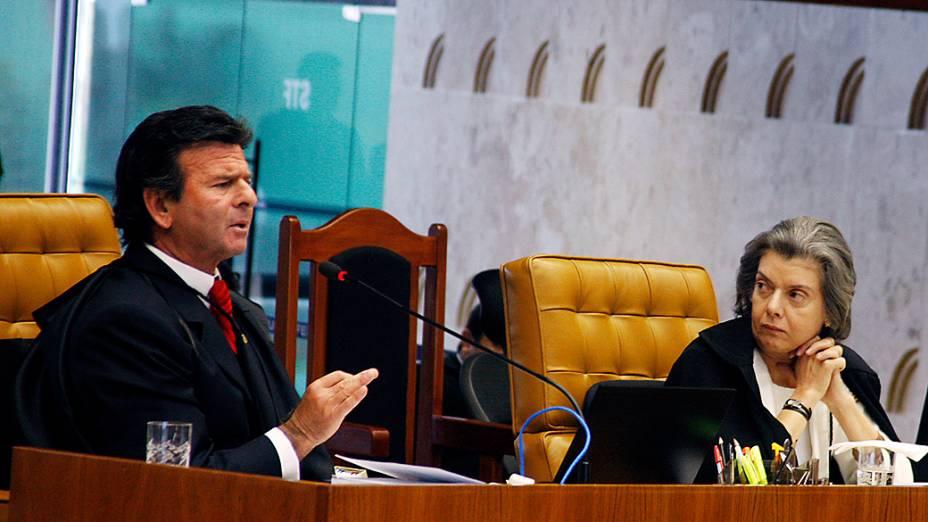 O ministro Luiz Fux no 15º dia de julgamento do processo do mensalão em sessão no plenário do Supremo Tribunal Federal (STF), em Brasília