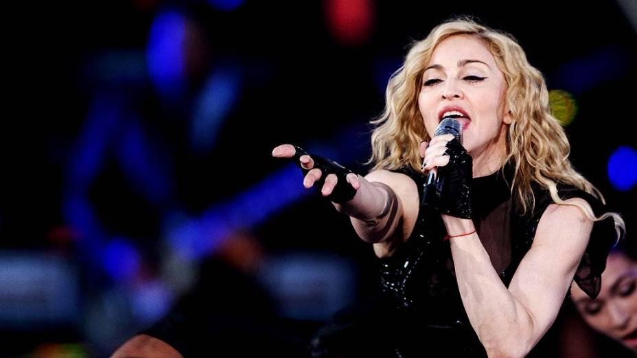 Madonna durante show em Oslo, na Noruega, em 2009