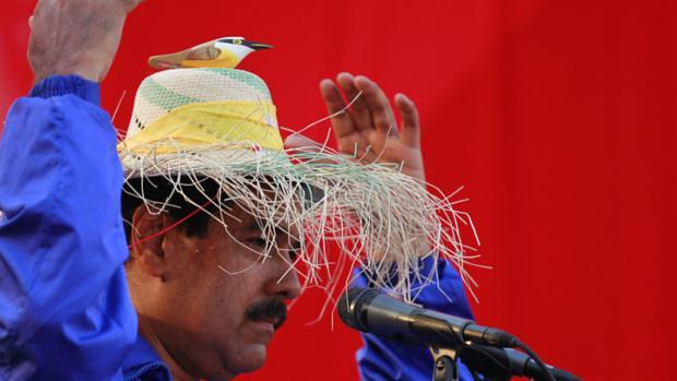 """Depois de dizer que Hugo Chávez apareceu para ele na forma de um """"passarinho"""", o candidato oficialista Nicolás Maduro usa chapéu com um pássaro durante ato de campanha no estado de Vargas"""