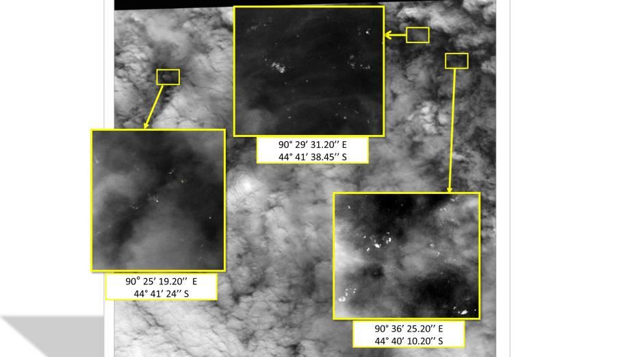 <p>Satélite detecta 122 objetos no mar que podem ser do avião da Malásia</p>