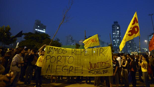 Protesto contra aumento da tarifa do transporte público, em Pinheiros