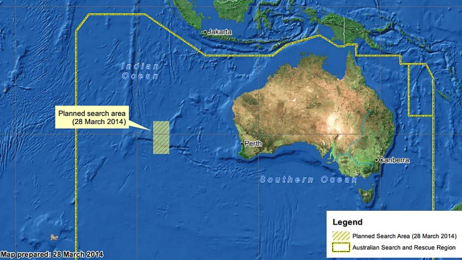 <p>Mapa divulgado pelo governo da Austrália mostra em destaque, no retângulo amarelo à esquerda, a nova área de buscas pelos destroços do avião da Malaysia Airlines</p>