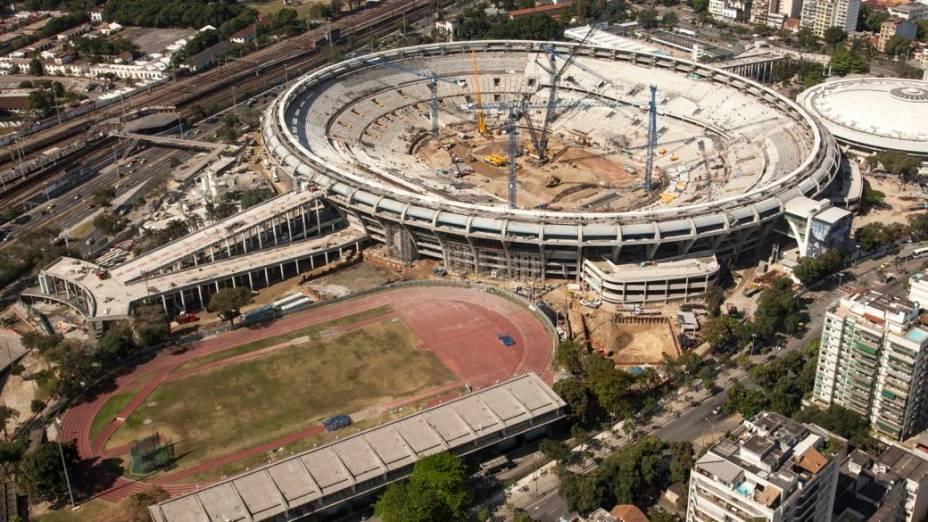 Obras do Maracanã, no Rio de Janeiro, em setembro de 2012