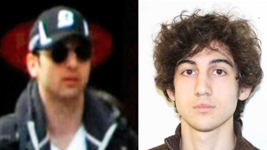 Montagem com a imagens dos dois suspeitos do atentado à Maratona de Boston