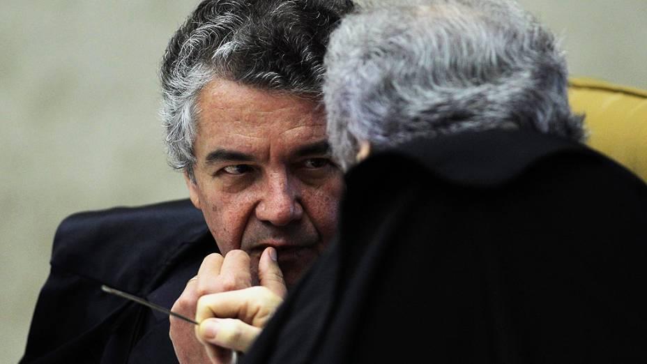 Marco Aurélio Mello durante o julgamento do mensalão, em 28/11/2012