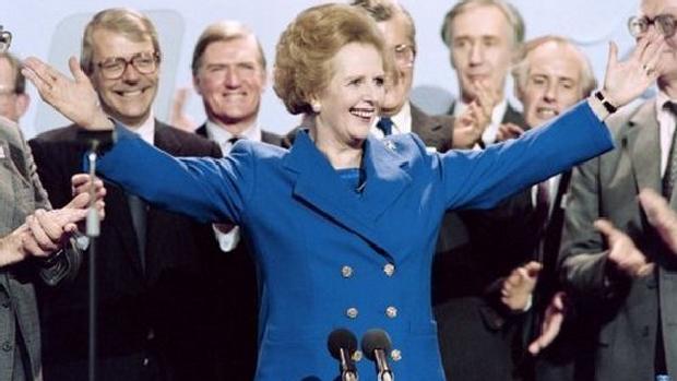 Margaret Thatcher, em outubro de 1989, em uma conferência do Partido Conservador em Blackpool