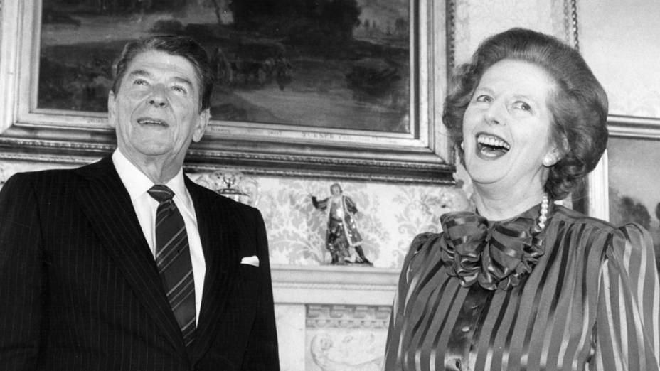 Margaret com o presidente americano Ronald Reagan, em 1984