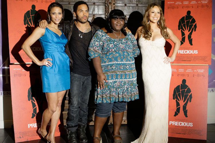 No Festival de Cannes de 2009, com a atriz Paula Patton, o cantor Lenny Kravitz e Gabourey Sidibe, com quem contracena no filme Preciosa