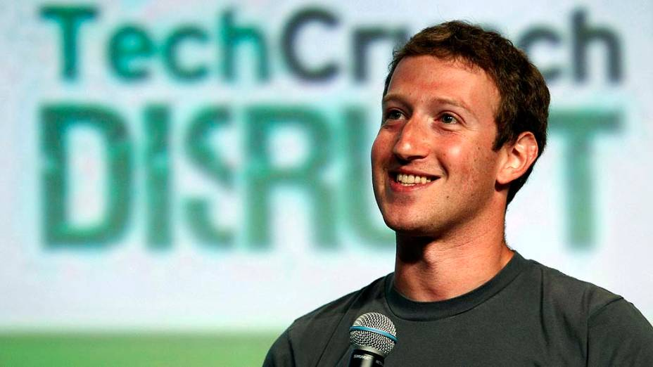 O CEO do Facebook, Mark Zuckerberg, durante a conferência TechCrunch Disrupt em São Francisco, Califórnia