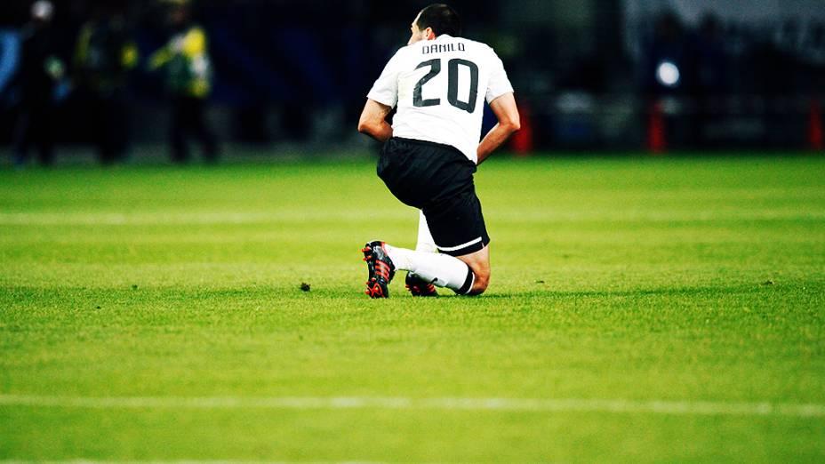 O jogador Danilo do Corinthians durante partida contra o Al Ahly pela semifinal do Mundial de Clubes da Fifa em Toyota