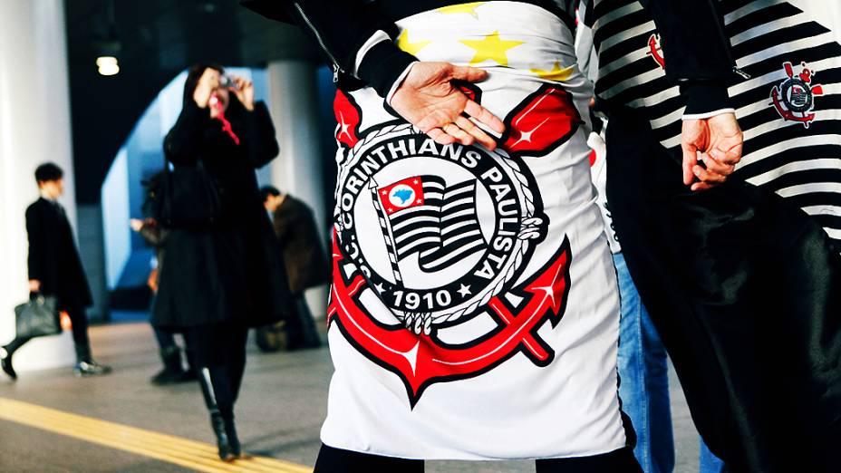 Torcida do Corinthians antes da partida contra o Al Ahly pela semifinal do Mundial de Clubes da Fifa em Toyota