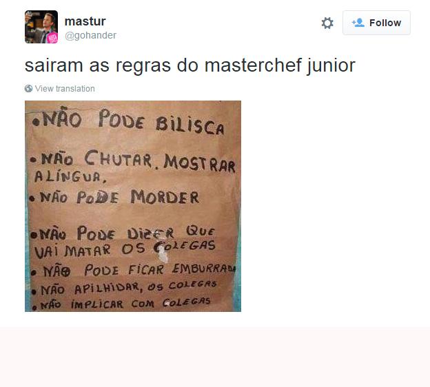 Regras do MasterChef Júnior, segundo o Twitter