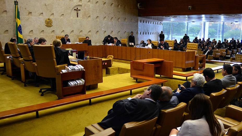 Ministros do Supremo Tribunal Federal (STF) durante sessão do julgamento do mensalão, em 25/10/2012