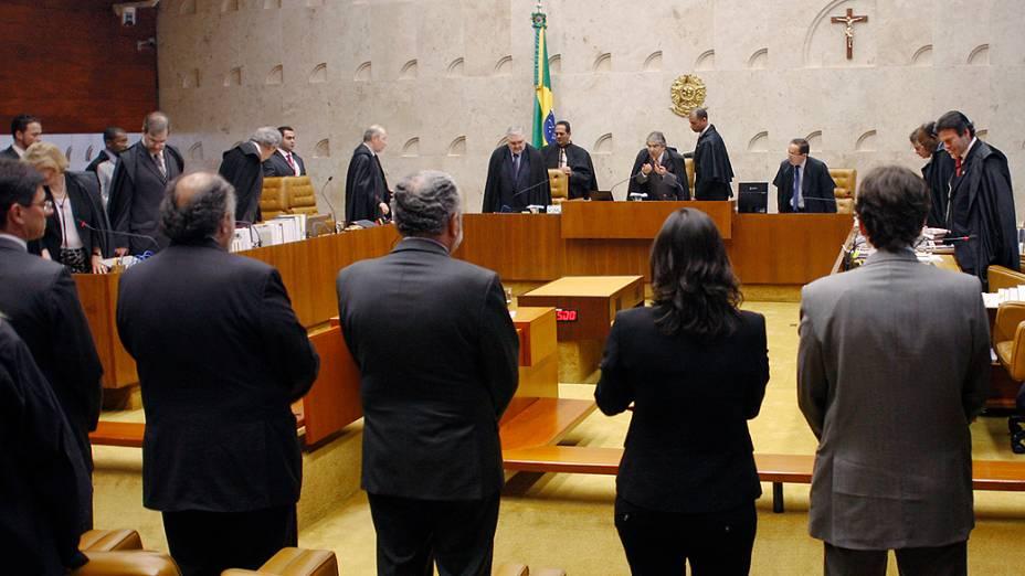 Ministros do Supremo Tribunal Federal (STF) durante sessão do julgamento do mensalão, em 12/09/2012