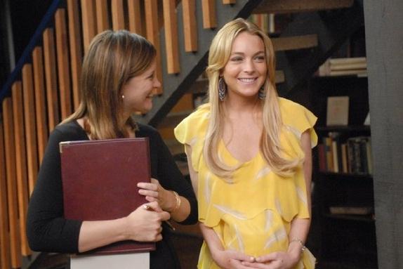 Lindsay Lohan em cena do filme <em>Meu Trabalho É um Parto</em>, de 2009