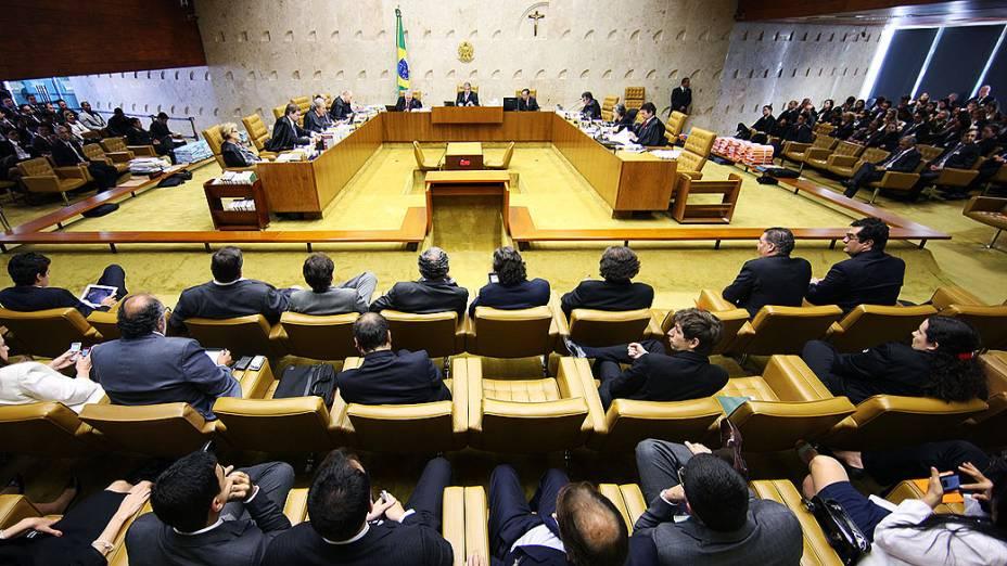 Ministros do Supremo Tribunal Federal (STF) durante sessão do julgamento do mensalão, em 04/10/2012
