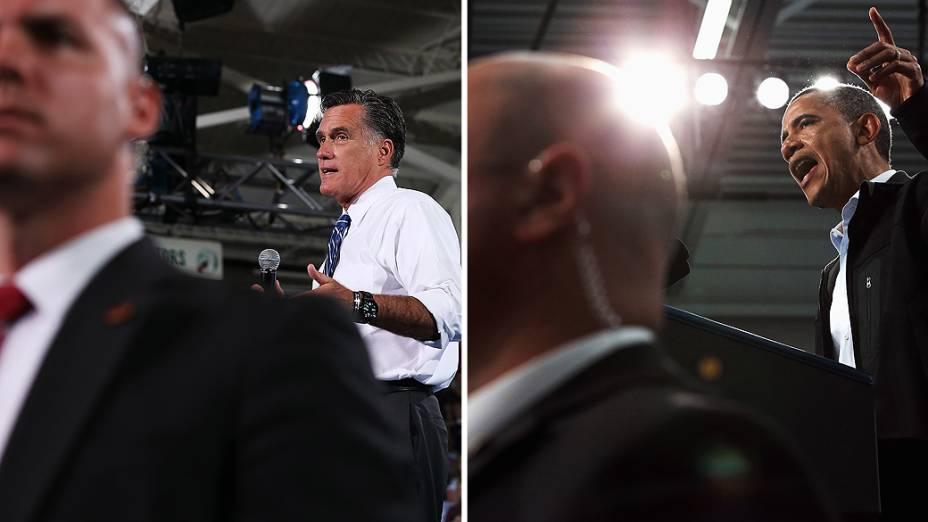 Mitt Romney e Barack Obama contaram com um forte esquema de segurança durante a campanha presidencial