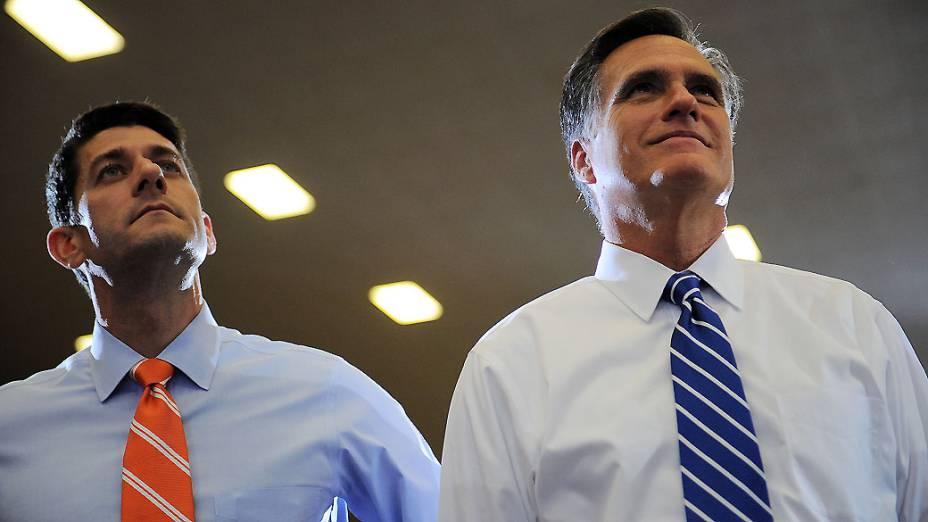 Paul Ryan e Mitt Romney em Ohio, nos Estados Unidos