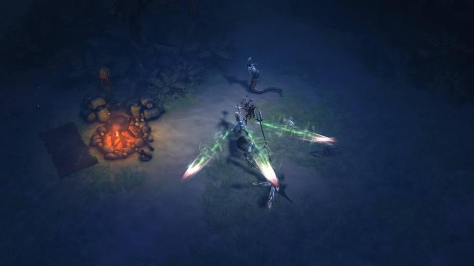 A luz dinâmica do jogo contribui para o clima sombrio de Diablo III