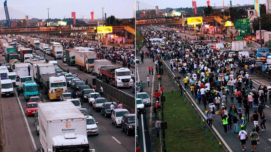 Manifestantes seguem em direção ao Aeroporto de Cumbica durante protestos na cidade de Guarulhos, nesta sexta-feira (21)