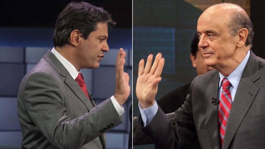 Montagem com os candidatos à Prefeitura de São Paulo Fernando Haddad (PT) e Jose Serra (PSDB) durante debate para o 2º turno