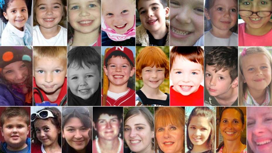 Imagens das vítimas do tiroteio na escola Sandy Hook em Newtown, Connecticut