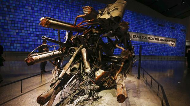 Parte da antenna da Torre Norte do World Trade Center exposta no museu do 11 de setembro
