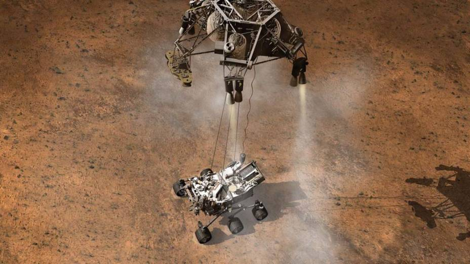 <p>Concepção artística do robô Curiosity da NASA</p>