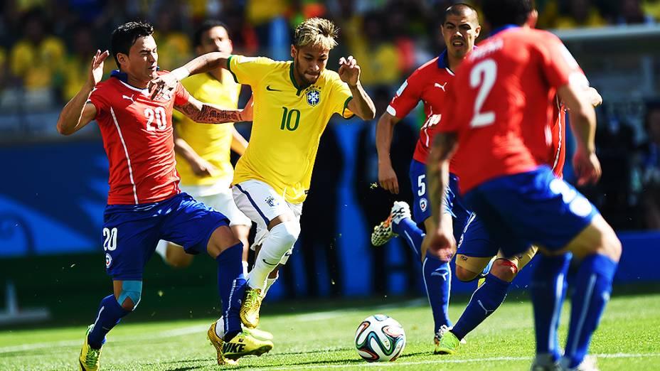 Neymar durante partida contra o Chile, em Belo Horizonte