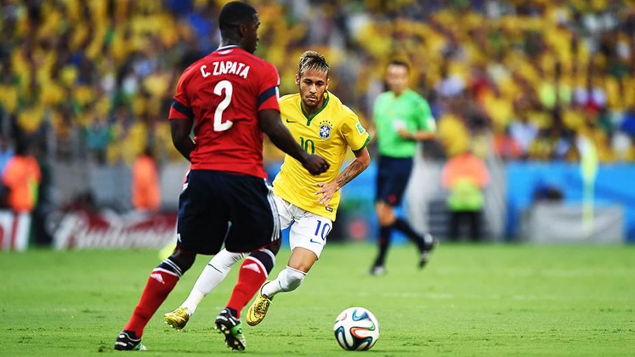 Neymar durante o jogo contra a Colômbia no Castelão, em Fortaleza