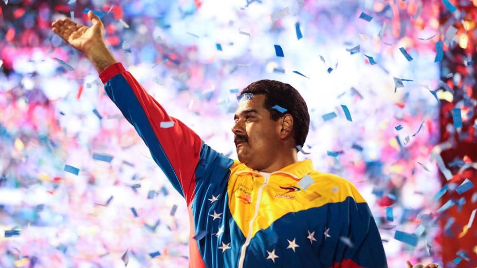 O presidente interino da Venezuela, Nicolás Maduro durante comício em Caracas