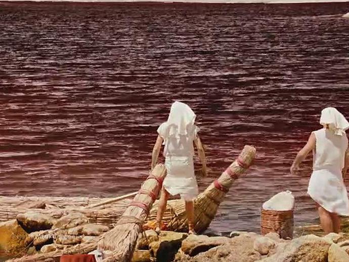 <p>Egípcios veem as águas do Nilo se transformarem em sangue em Os Dez Mandamentos</p>