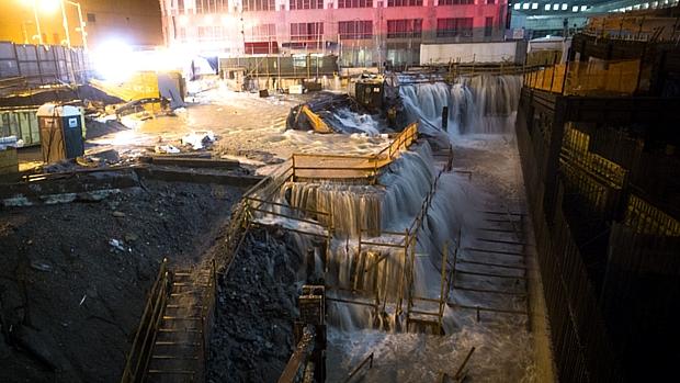 Chuvas da tempestade Sandy inundaram o Marco Zero, local que abrigava as torres do World Trade Center