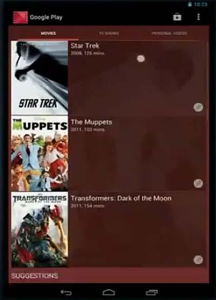 Interface do Google Play no Nexus 7