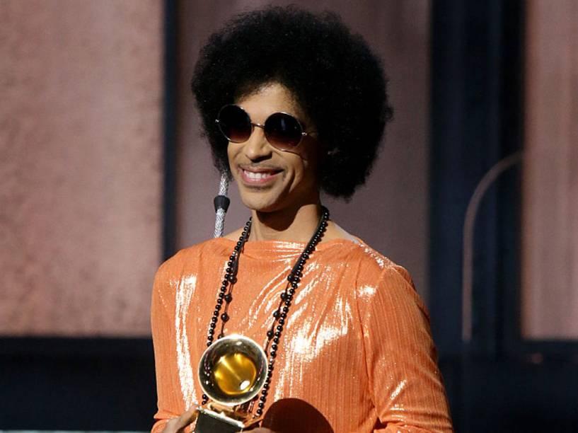 O cantor Prince durante o Grammy em 2015