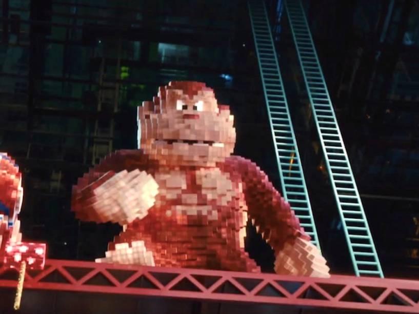 O personagem Donkey Kong em Pixels