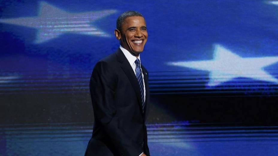 Obama chega para seu discurso na convenção democrata