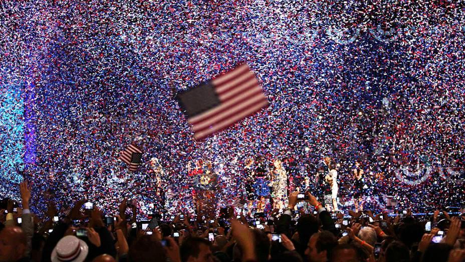 Chuva de papel picado encerra o discurso de Obama