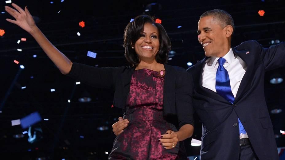 O casal Obama na festa da vitória pela reeleição: mais quatro anos na Casa Branca