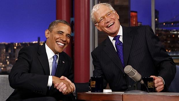 Em setembro, foi a vez de Barack Obama participar do programa de David Letterman. Na ocasião, ele criticou as declarações do rival Mitt Romney sobre os americanos que dependem do governo