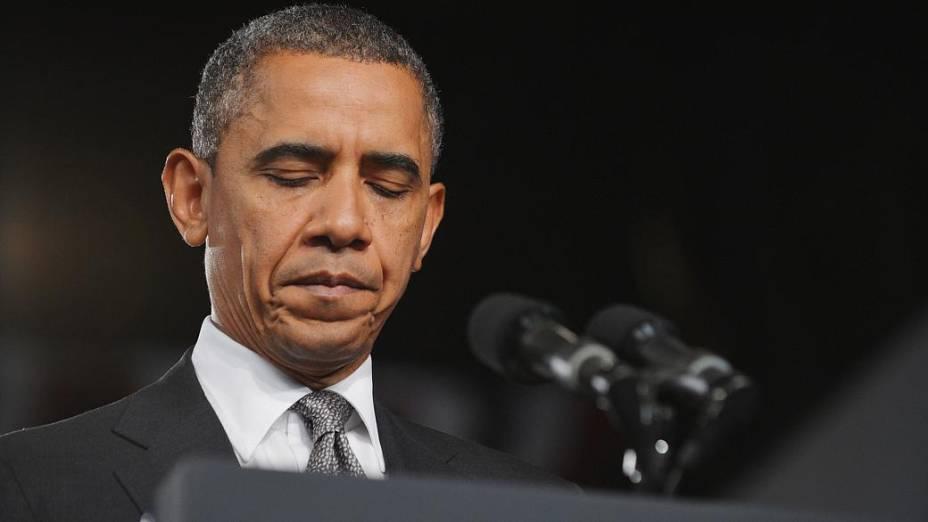 O presidente americano Barack Obama durante o pronunciamento sobre o ataque em que 12 pessoas foram mortas, nesta sexta